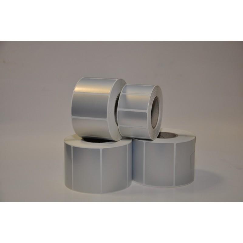 Etykiety termotransferowe folia poliester srebrny 50x25 mm - 1000 szt gilza fi 40