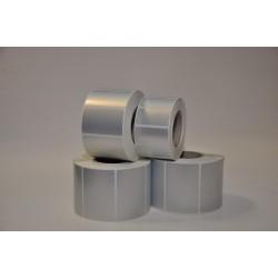 Etykiety PET srebrne 50x25 mm - 1000 szt gilza fi 40 - folia poliester